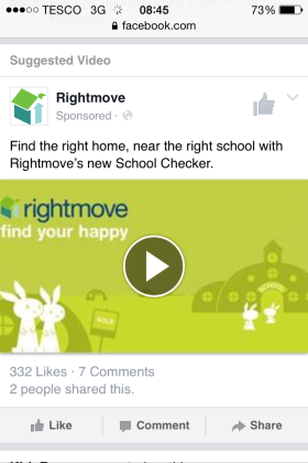 Image of Rightmove's advert for its new School Checker