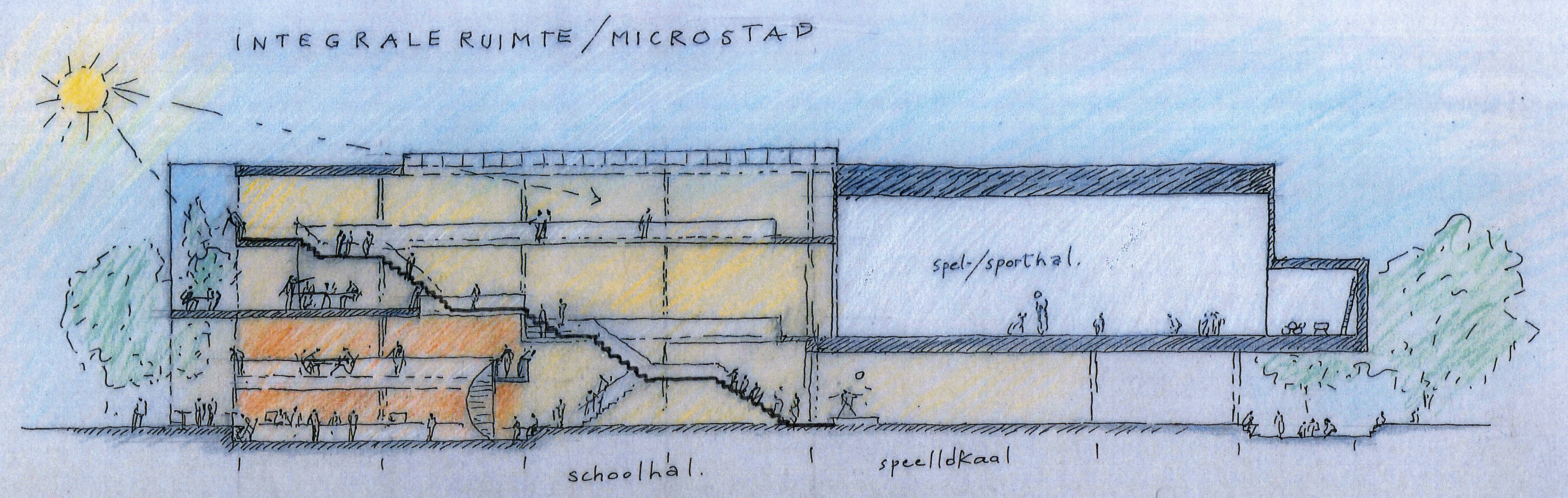 Sketch long section of extended primary school groningen