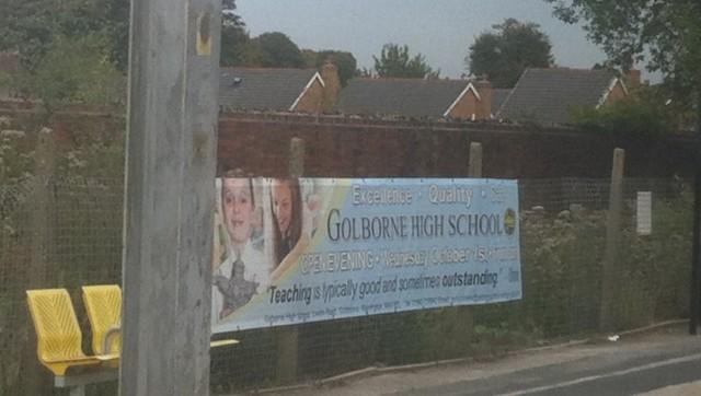 Golborne High School - by a railway station somewhere near Runcorn