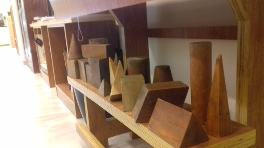 Wooden blocks for geometry lessons, The Museum of School Life, Nerokourou, Crete