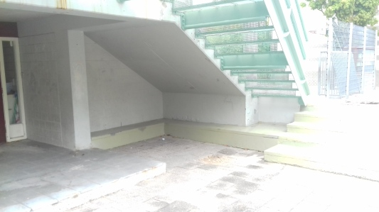 A photo showing the underneath of Hertzberger's Willespark School steps
