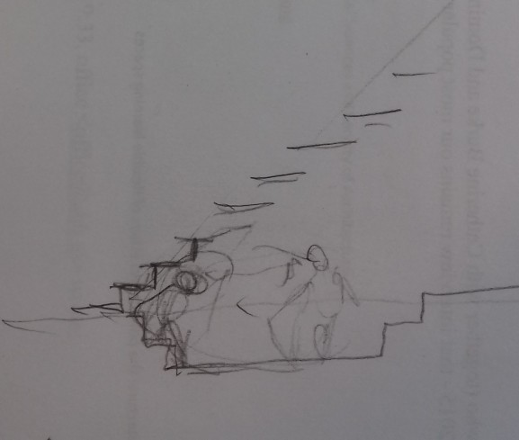 Sketch by Herman Hertzberger of an area underneath stairs